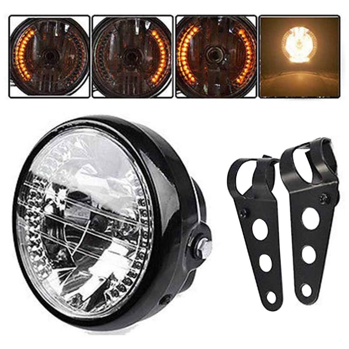 Universal 7' Vintage Style Motorcycle Headlight LED Turn Signal Light + Mount Bracket Black HA-01