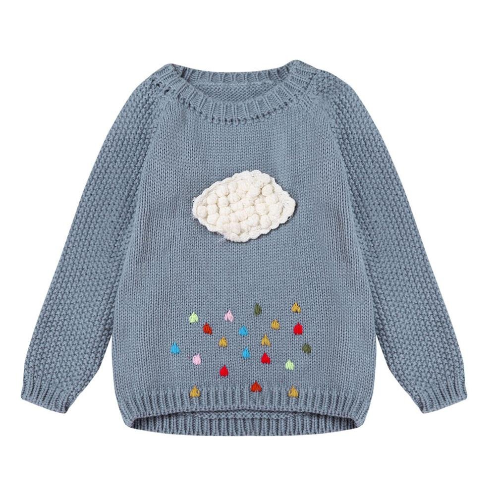 Kehen Baby Girl Cloud Rain Long Sleeve Knit Sweater Thick Warm Pullovers Outerwear (5T, Gray)