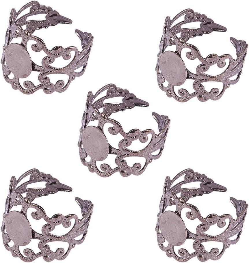 Componentes del anillo de filigrana de lat¨®n, componentes ajustables de base del anillo, sin plomo, negro, Tama?o: Anillo: cerca de 17 mm di¨¢metro interior, bandeja: 8 mm di¨¢metro