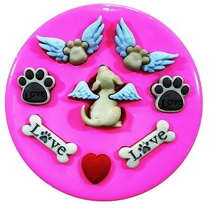 Perro cielo ángel cachorros y huellas molde de silicona para decoración de dulces para tartas forma