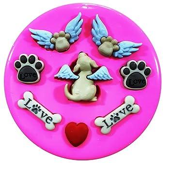 Perro cielo ángel cachorros y huellas molde de silicona para decoración de dulces para tartas forma de personajes de Frozen: Amazon.es: Hogar