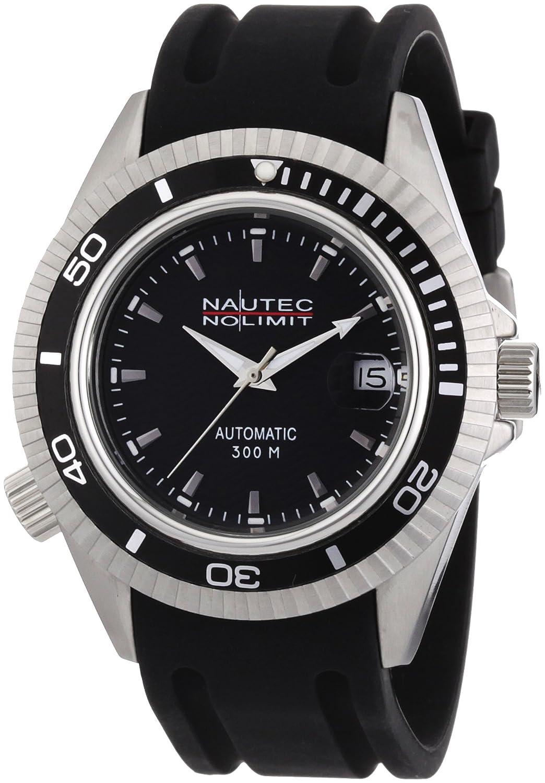 Nautec No Limit Shore - Reloj analógico de caballero automático con correa de goma negra