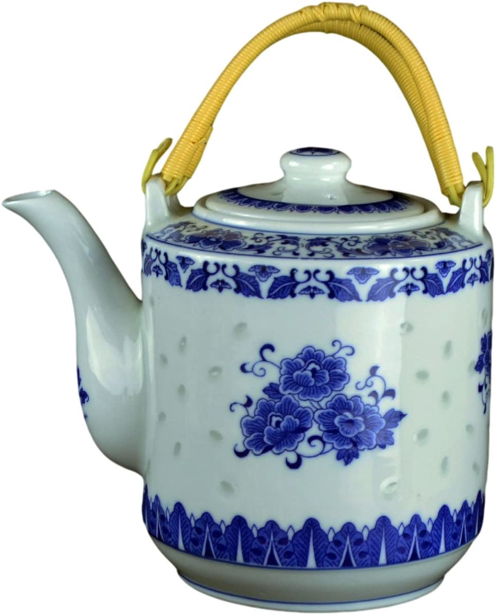 Large Teapot Blue and White Porcelain 8 OZ