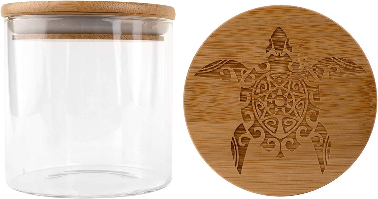 Hakuna Supply - Glass Storage Jar with Decorative Airtight Bamboo Lid - Multi-Use Stash Container for Herbs, Tea, Candy, Q-Tips, etc. for The Bedroom, Kitchen, and Bathroom (1 Oz., Sea Turtle)