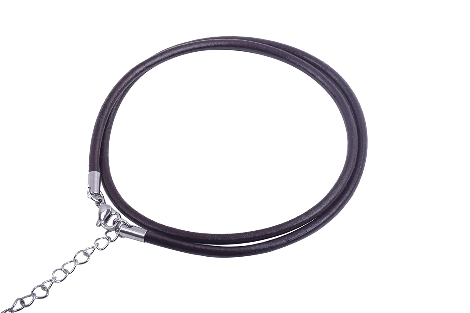 Caps and Extension Chain KONMAY 20pcs 18 Real Leather Necklace Cord with 304L Stainless Steel Clasps