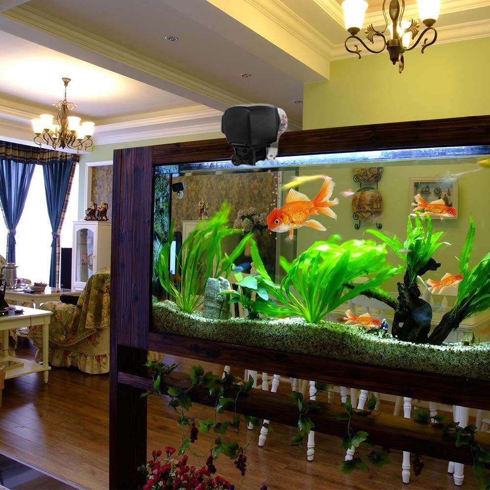 HomdMarket LCD Alimentador Automático de Peces, Dispensador de Comida Acuario, Alimentador Automático de Peces para Acuario con LCD Pantalla e ...