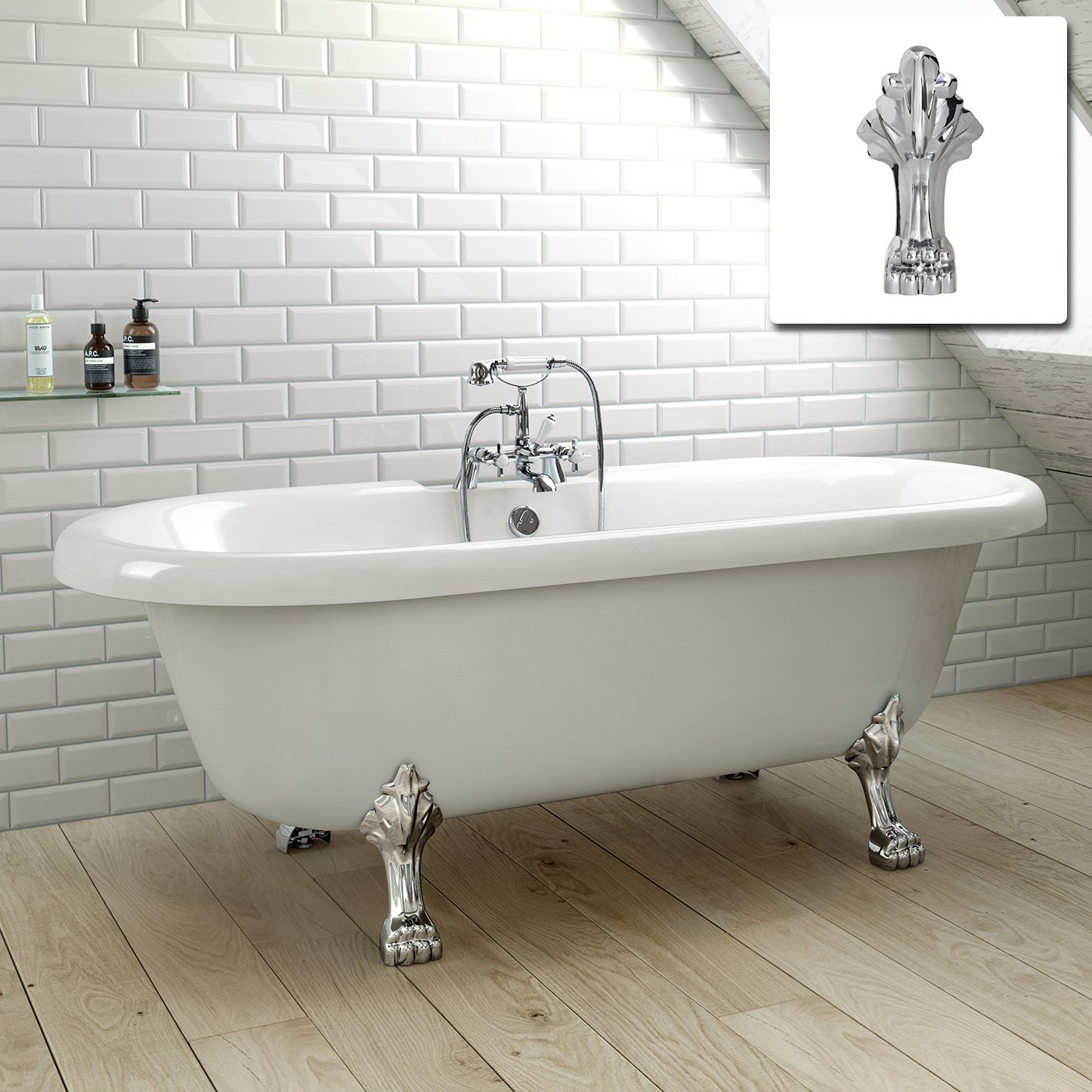1800mm Traditional Large Roll Top Freestanding Double Ended Bath ...