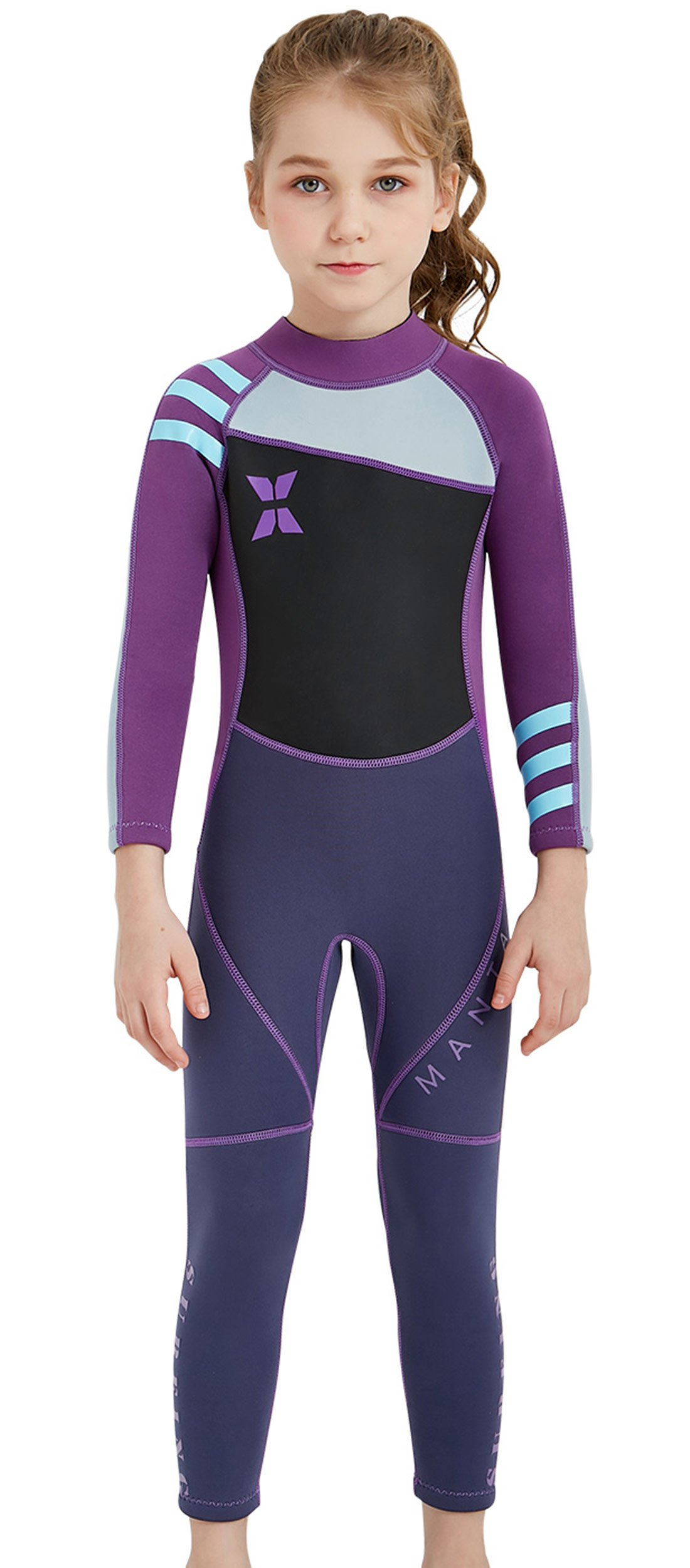 DIVE & SAIL Kids Long Sleeve Swimsuit Thermal Warm Full Suit UPF 50+ Wetsuit Diving Swmming Suit Swimwear Purple XL by DIVE & SAIL