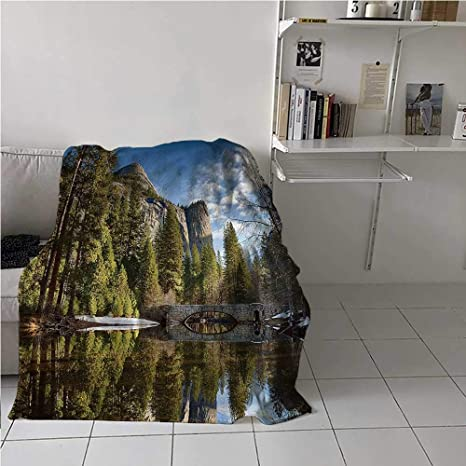 Amazon Com Bed Blanket Yosemite Velvet Plush Soft Throw Blanket Stoneman Bridge Morning For Night Sporting Events 60x80 Inch Home Kitchen