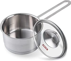 Saucepan Stainless Steel, ROCKURWOK 1qt Saucepan Small Pot for Cooking with Lid, 1 Quart
