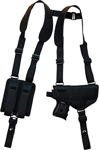Barsony New Concealment Shoulder Holster w/Double Mag Pouch Compact 9mm 40 45