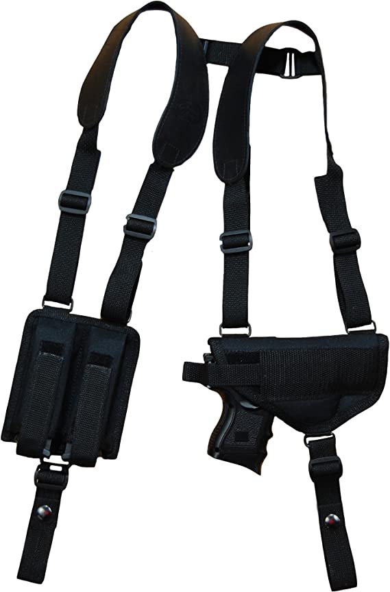 Barsony New Concealment Shoulder Holster w/Dbl Mag Pouch for Full Size 9mm 40 45