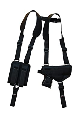 Barsony Nylon Gun Concealment Shoulder Holster w/ Double Mag Pouch Compact 9mm 40 45