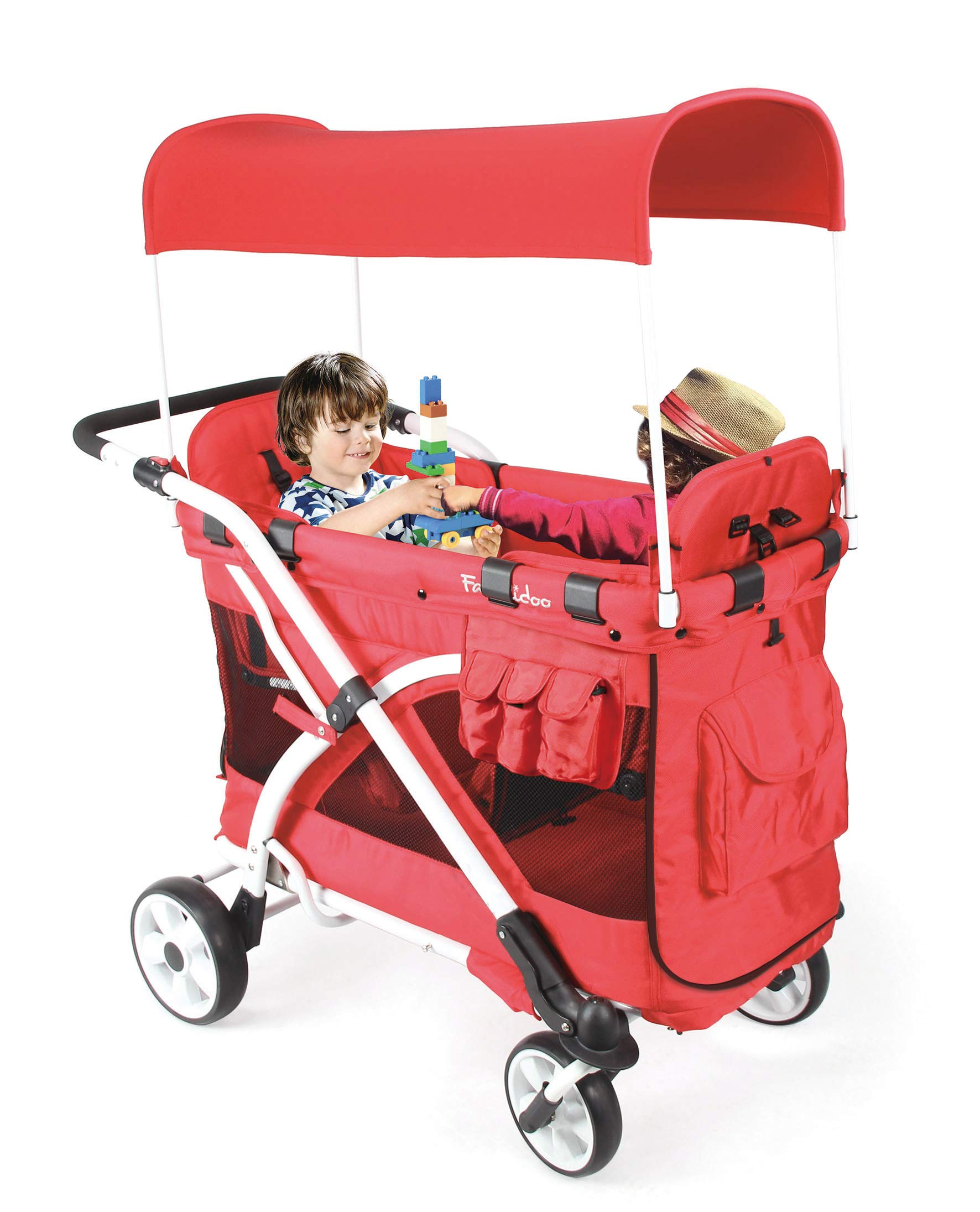 Familidoo Multi-Purpose 6 in 1 Large Twin Size Toddler Baby Folding Stroller Chariot Wagon, Red