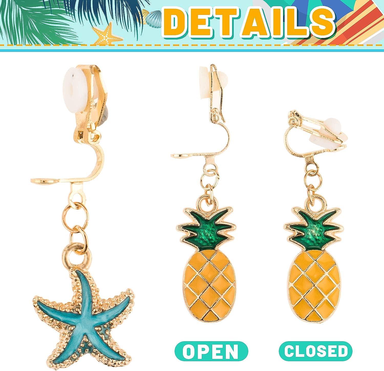 Whaline 20 Pairs Earrings Clip Summer /& Fruit Style Clip on Earring Cute No Pierced Design Jewellery Accessories Set Dessert Drink Flower Seaside Earring Dress Up Party Favors for Girl Kids Women