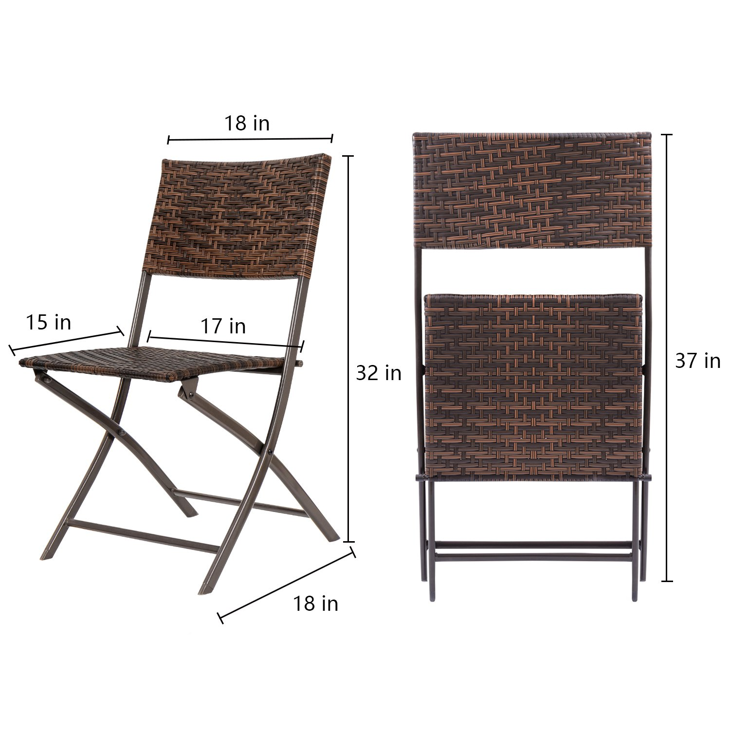 Flamaker Folding Patio Chairs PE Wicker Rattan Chair 4 Pieces Patio Furniture Set by Flamaker (Image #5)