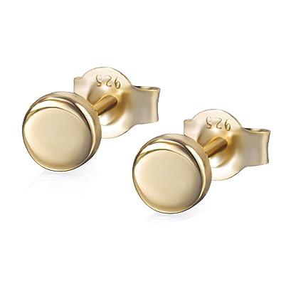 S Leaf Gold Earrings for Women Tiny Dot Earrings Sterling Silver Earrings