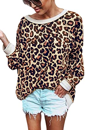 Women Pullover Sweatshirt Leopard Print Long Sleeve Sweater Tops Camel S
