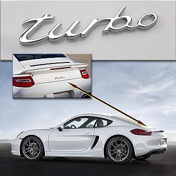 ADATECH LOGO TURBO 3D PLATA PARA PORSCHE 911 CARRERA CAYENNE BOXSTER ADHESIVO: Amazon.es: Coche y moto