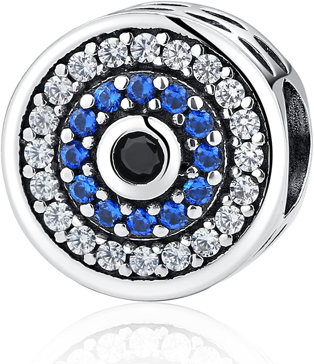 Amazon Com Eternalll Evil Eye Charms Authentic 925 Sterling Silver Fit Pandora Charms Bracelets Blue Eyes Hand Beads Home Family Heart Love Spacer Charms Beads For Bracelet Or Necklace Jewelry