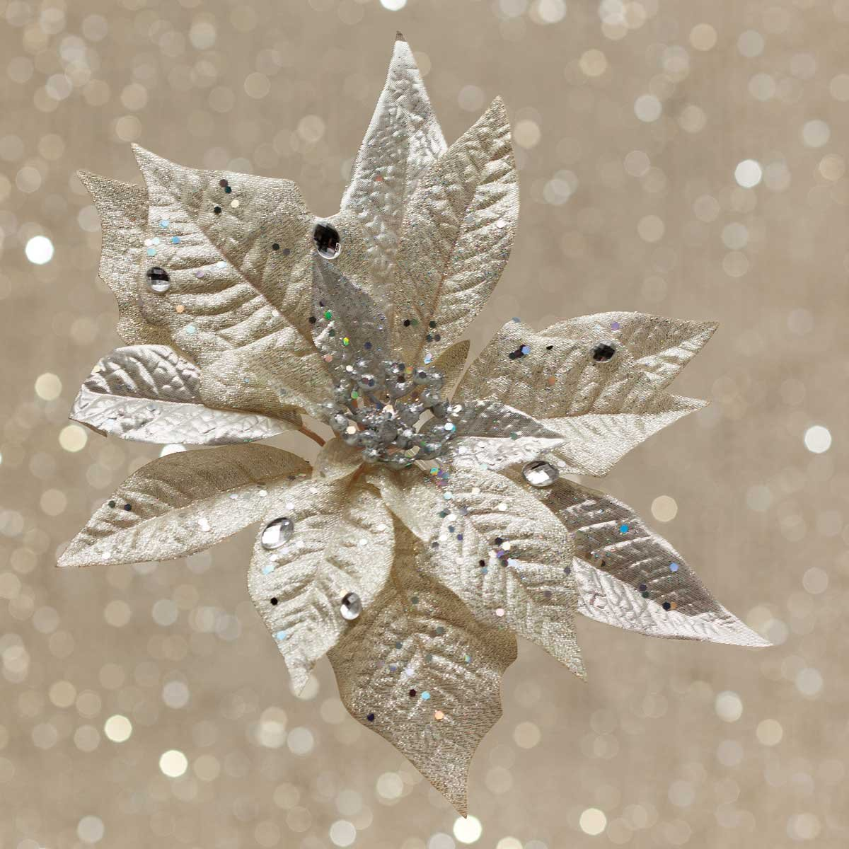 Sparkly Champagne Decorative Clip-On Artificial Christmas Poinsettia