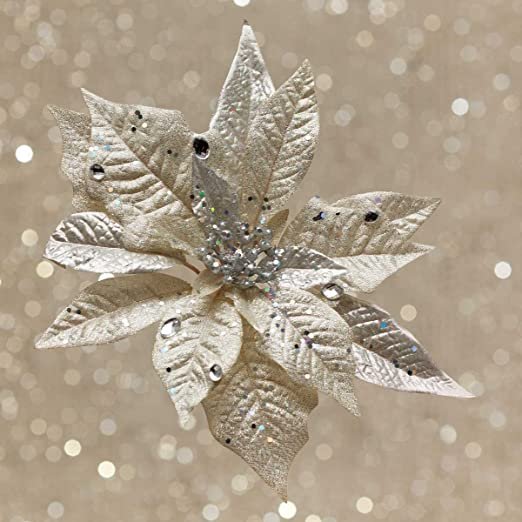 Christmas Tablescape Decor - Gorgeous decorative clip-on faux champagne poinsettia