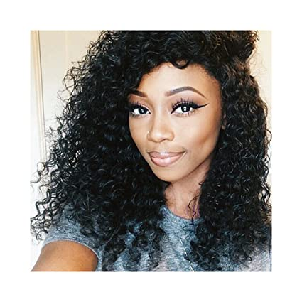 "VKHair 16""/40cm Peluca 100% Natural Human Hair Kinky Curly Full Lace Wig"