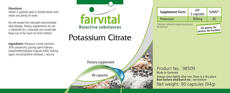 Potasio - 1 mes - VEGAN - ALTA DOSIS - 90 cápsulas - 300 mg de potasio por cápsula: Amazon.es: Salud y cuidado personal