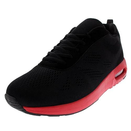online store c19a0 b8b13 Hommes Rembourré Running En Marchant Sports Gym Poids Léger Athlétique  Formateurs - Noir Rouge -