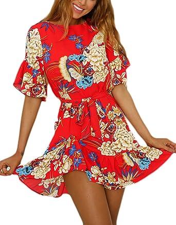 Vestidos De Fiesta Mujer Corto Elegante Verano Manga Corta Cuello Basic Ropa Redondo Impresión Floral Mini Vestido Moda Casual Con Volantes Dress Cinturón ...