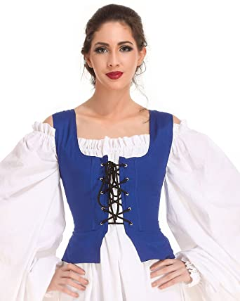 150a24608c7 Amazon.com  Medieval Wench Pirate Renaissance Cosplay Costume Reversible  Peasant Bodice  Clothing