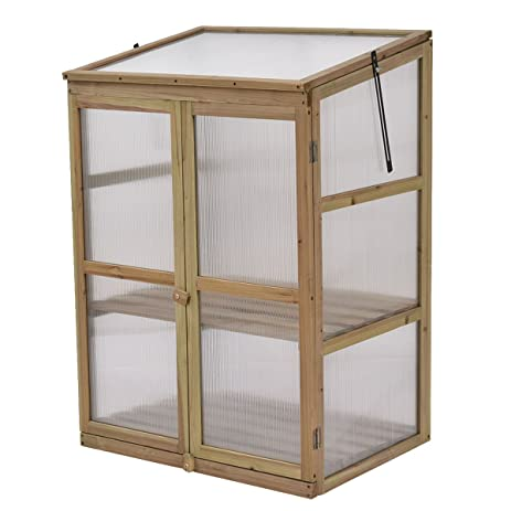 Amazon.com : House cold frame garden portable wooden green raised ...