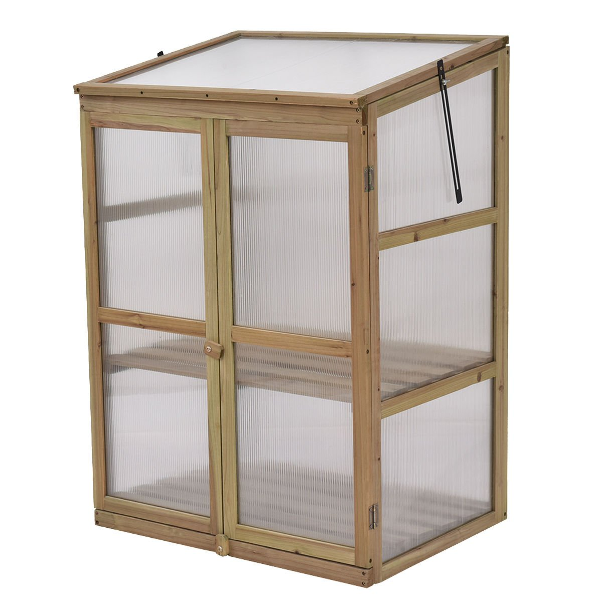 Moon Daughter 2 Doors Double Lock Garden Portable Wooden GreenHouse Cold Frame Raised Plants Shelves Protection
