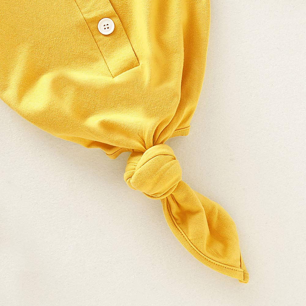 Newborn Baby Long Sleeve Knotted Gown Nightgown Sleepsacks Sleeping Bags New Coming Home Outfit