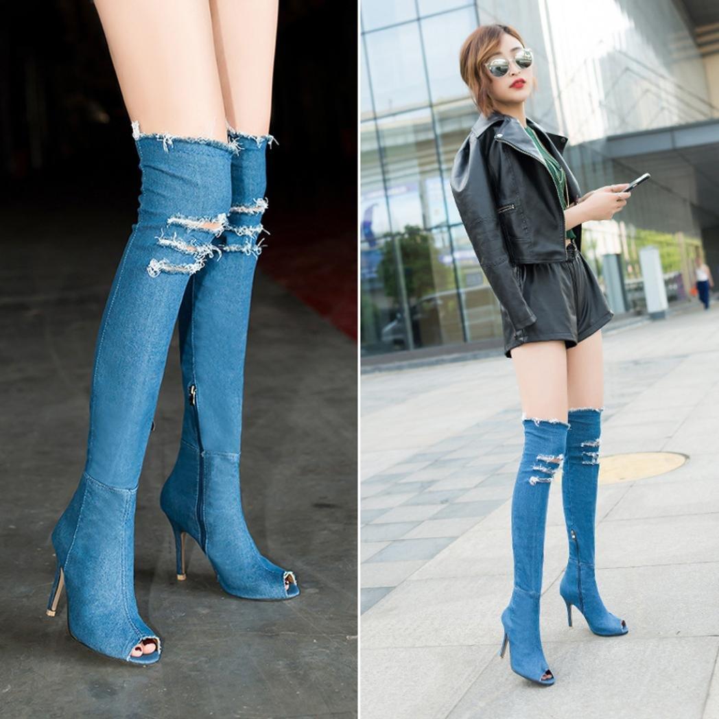 Buy WensLTD Womens Over The Knee Denim