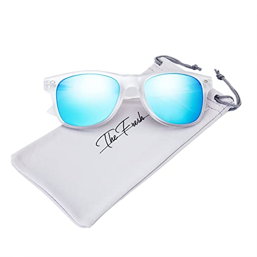 415c9588b7 The Fresh Matte Frosted Frame Reflective Colored Mirror Lens Horn Rimmed  Sunglasses with Gift Box (