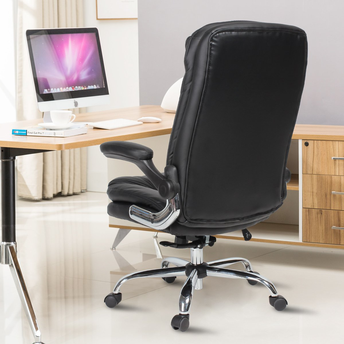 YAMASORO Ergonomic Home Office Chair with Flip-Up Arms and Comfy Headrest PU Leather High-Back Computer Desk Chair Big and Tall Capacity 330lbs Black by YAMASORO (Image #3)