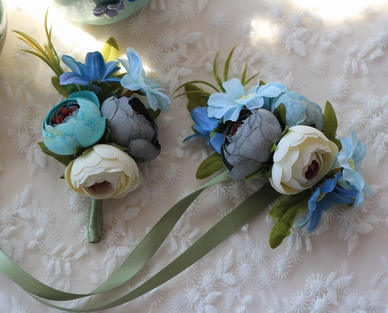 and bouquets peach silk boutonni\u00e8re pin prom corsage bracelet Wedding corsages sage boutonni\u00e8res and navy corsage for wedding