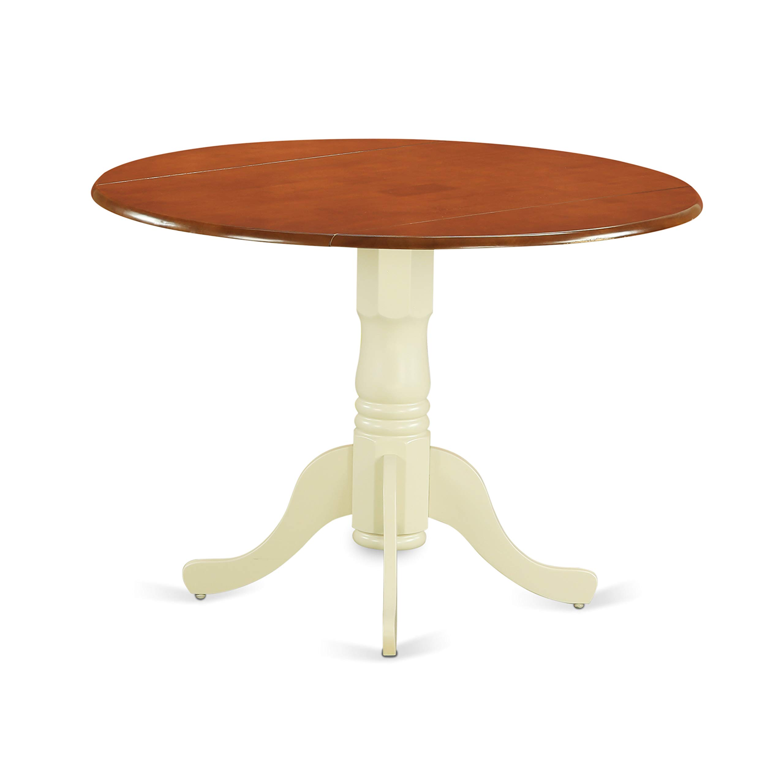 East West Furniture DLT-BMK-TP Dublin Round Table With Two 9'' Drop Leaves In Buttermilk And Cherry Finish