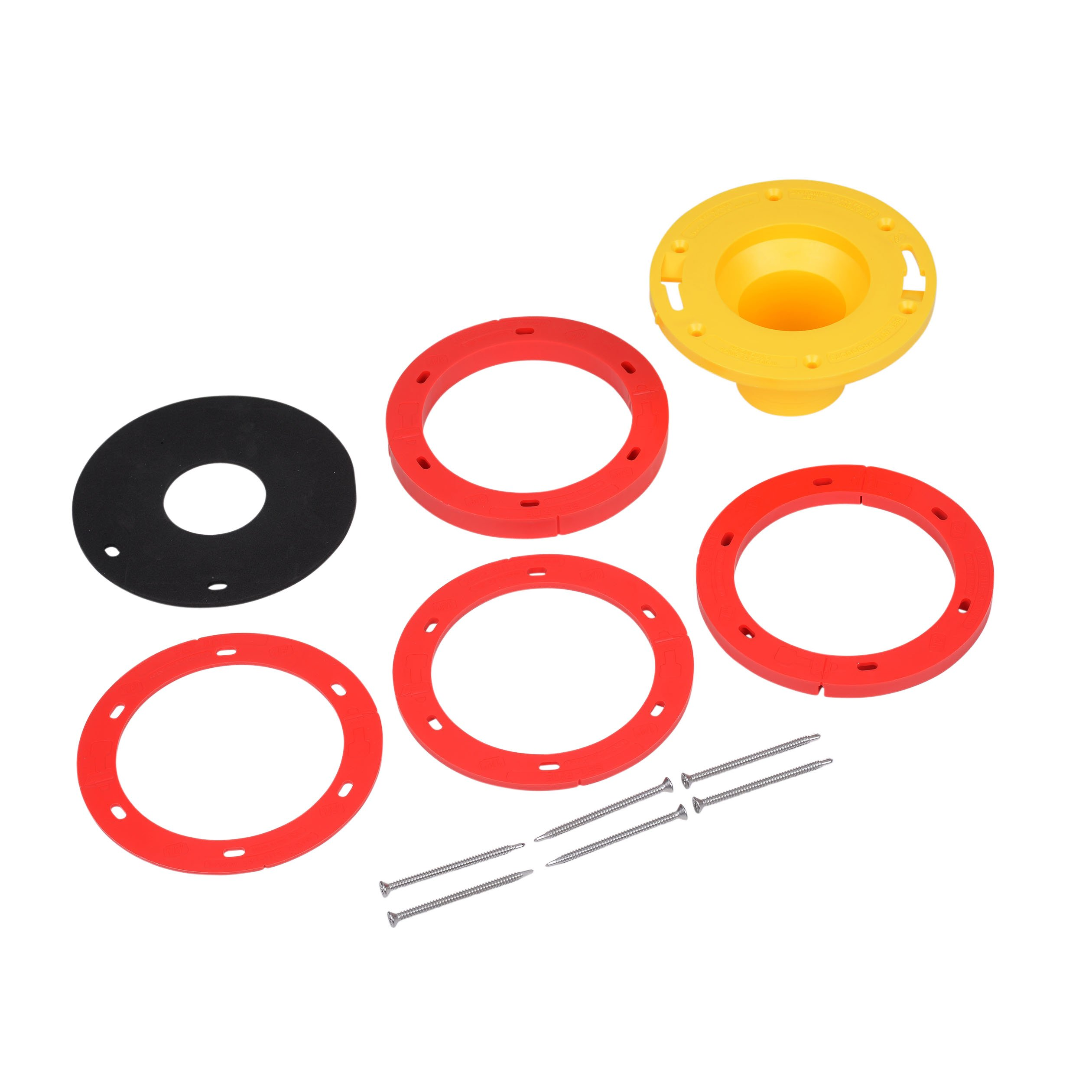 OATEY 43400 Set-Rite Toilet Flange Extension Kit, 1/4'' - 1-5/8'', Red, Yellow, used on PVC, ABS, Cast Iron and Stainless Steel