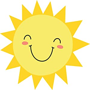 """Wallency Happy Sun Wall Art Decal - Peel and Stick Removable Vinyl Sticker Graphic (12""""H x 12""""W - Mini)"""
