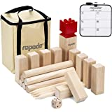 ROPODA Kubb Game Premium Set - Game Set for Yard/Outdoor/Lawn/Beach - Pinewood Viking Chess Game with Carrying Bag for Adults and Kids