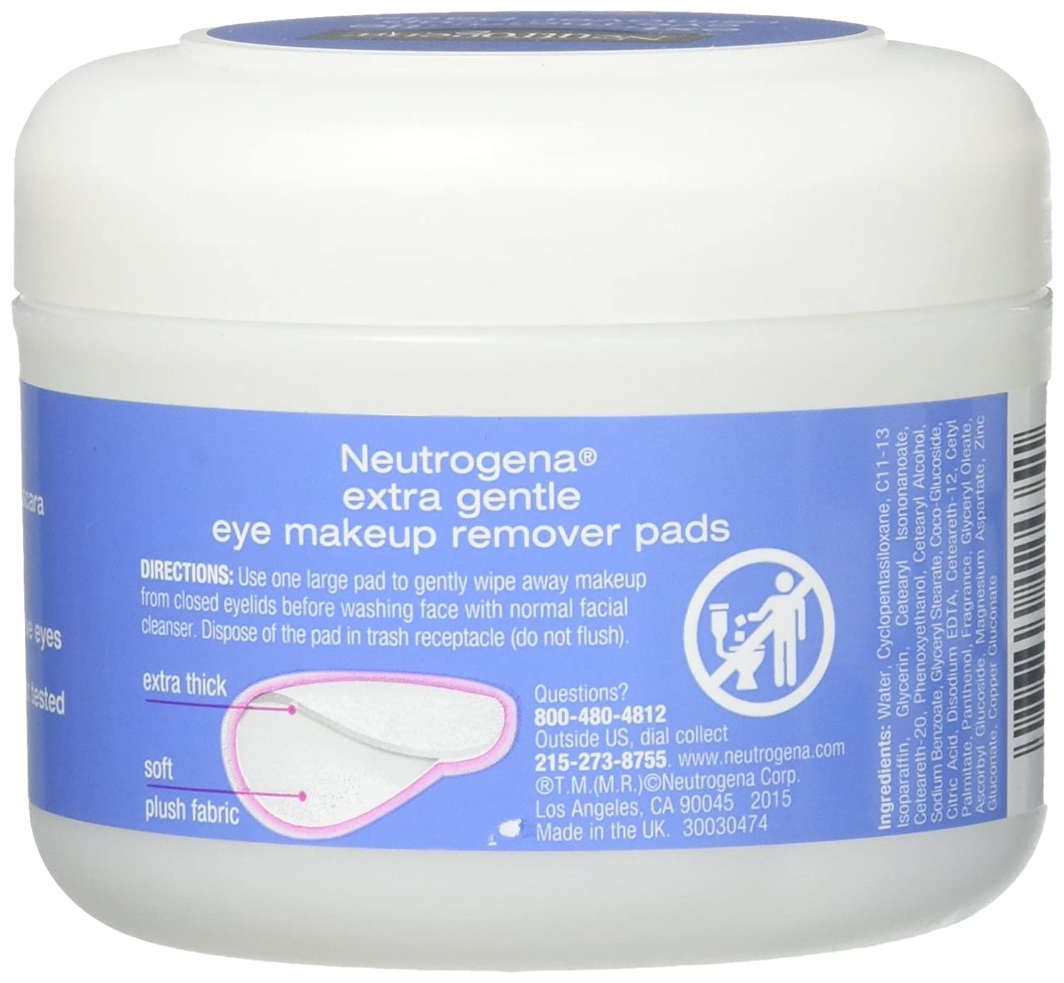 Neutrogena Eye Extra Gentle Makeup Remover Pads 30 Count Jar 6 Pack
