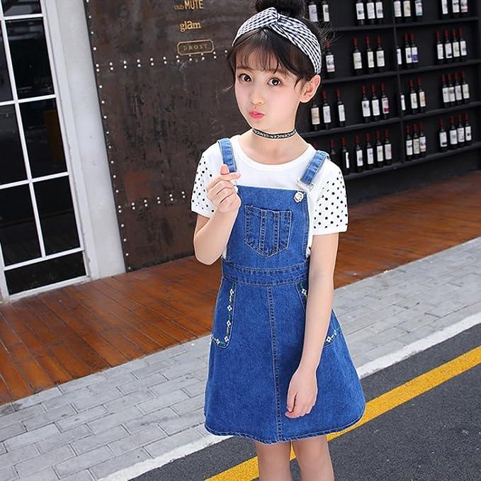 7ce54514b Amazon.com: Kidscool Girls Big Bibs Small Flowers Decor Summer Jeans  Overalls Dress: Clothing