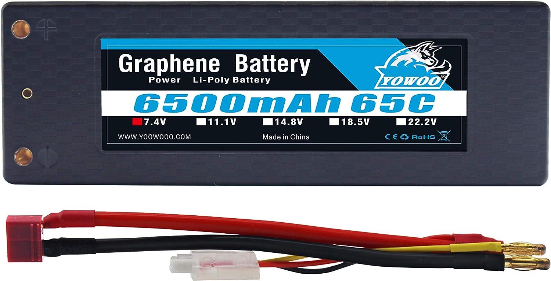 YOWOO 2S Batería de grafeno 6500mAh 65C 7.4V RC Lipo Baterías Estuche rígido con 4.0mm Banana to Deans Conector para 1/8 1/10 RC Modelo de automóvil Traxxas Slash Emaxx Bandit Rustler Versión