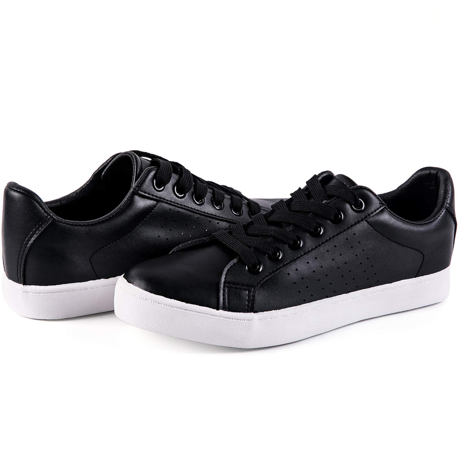 Synthetic Leather - Black Lantina Women's Low Top Fashion Sneakers