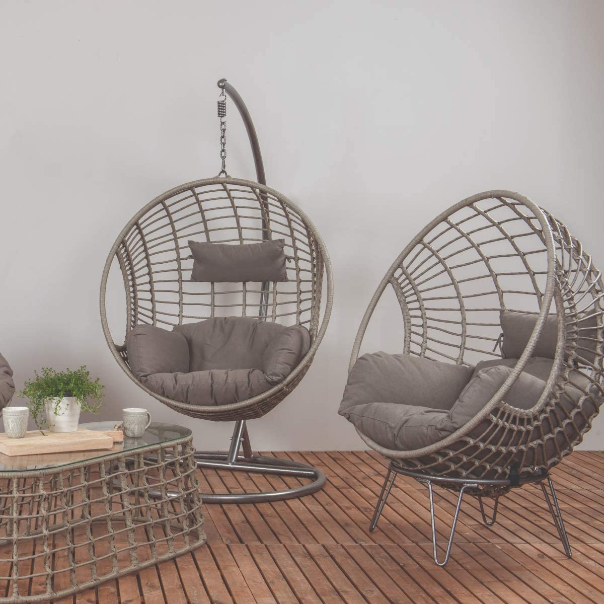 Dawsons Living Milan Hanging Egg Chair - Outdoor and Indoor Rattan Weave Swing Hammock - Hanging Stand and Floor Stand - Grey: Amazon.co.uk: Garden & Outdoors