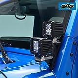 EAG Dual Work Light Bar A-pillar Mounting Brackets Fit for Jeep Wrangler JK 2DR 4DR 07-17 (2Pcs) (51-0470)