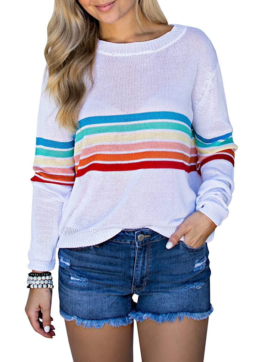 Klousilover Womens Rainbow Sweaters Lightweight Knit Pullover Loose Jumper Blouses