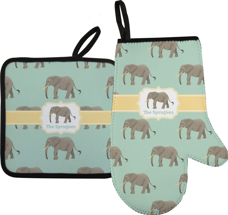 RNK Shops Elephant Oven Mitt & Pot Holder (Personalized)